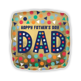 Happy Fathers Day Gold Square Balloon