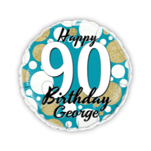 Birthday Age Blue and Gold Dots Balloon