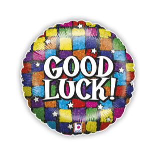Good Luck Colourful Squares Balloon
