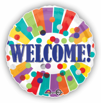 Welcome! Colourful Stripes And Dots Balloon