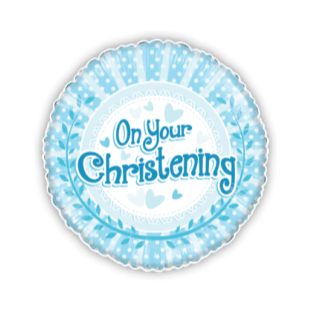 On Your Christening Baby Blue Dots Balloon
