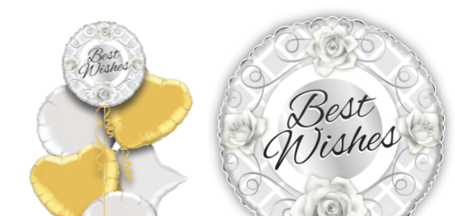 Silver Roses Best Wishes Balloon