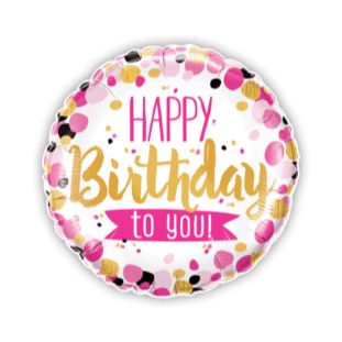 Happy Birthday To You Pink and Gold Balloon