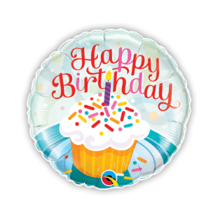 Happy Birthday Cupcake with Candle Balloon