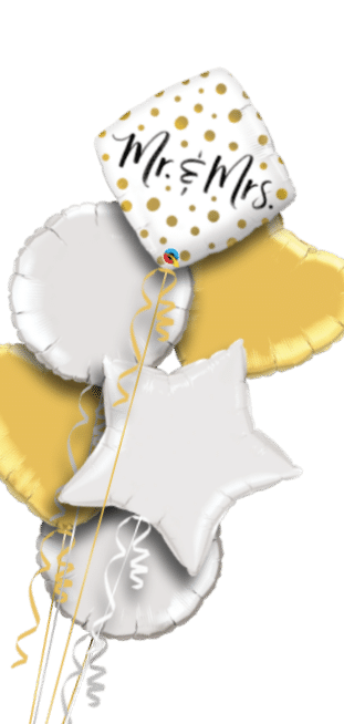 Mr and Mrs Gold Dots Balloon
