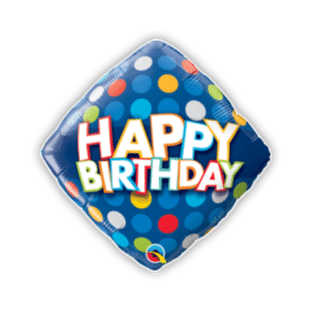 Birthday Blue and Colorful Dots Balloon