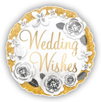 Wedding Wishes Gold and Silver Balloon
