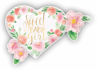 Sweet Baby Girl Floral Heart