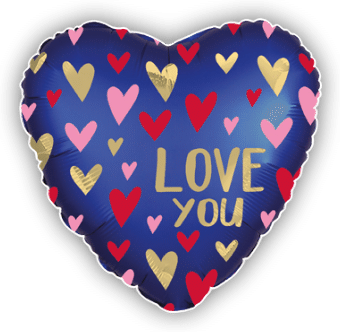 Love You Blue Satin and Gold Balloon