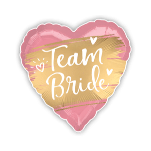 Team Bride Gold and Pink Heart Balloon