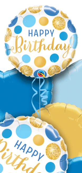 Birthday Blue and Gold Dots Balloon