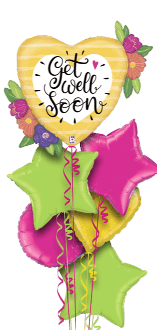 Get Well Big Heart and Flowers Balloon