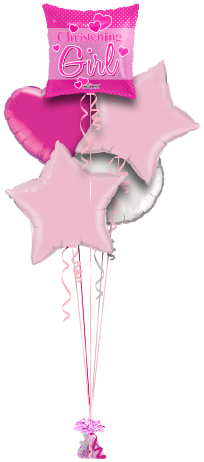 Christening Girl Hearts Square Balloon Bunch