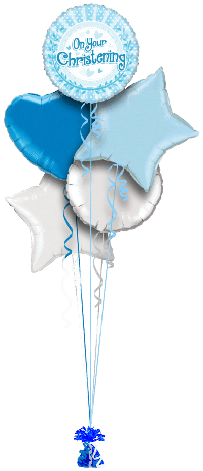 On Your Christening Baby Blue Dots Balloon Bunch
