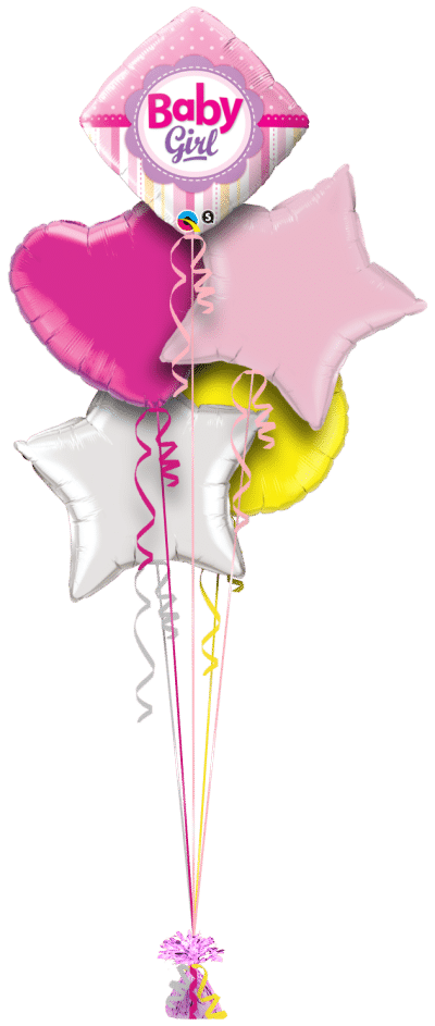 Baby Girl Dots and Stripes Balloon Bunch
