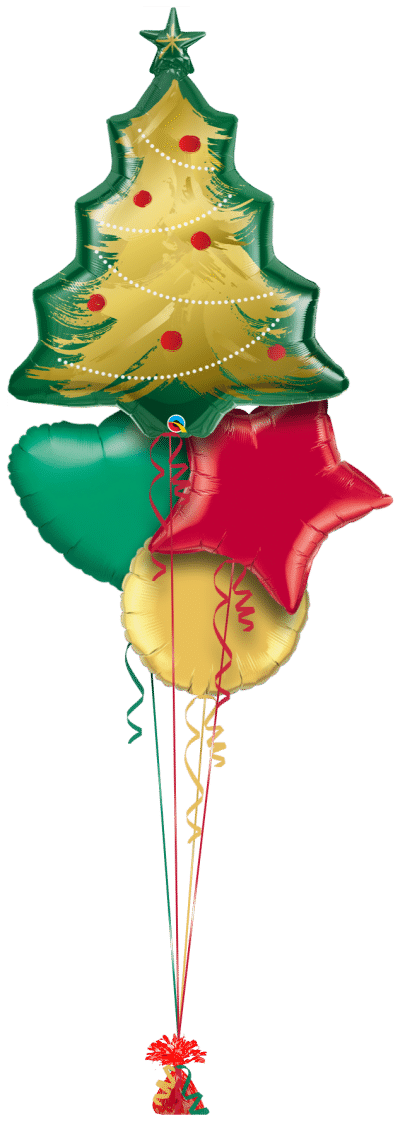 Christmas Tree Brushed Gold Balloon Bunch