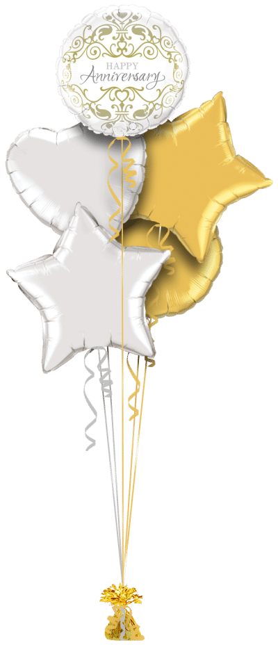 Anniversary Gold and Silver Balloon Bunch