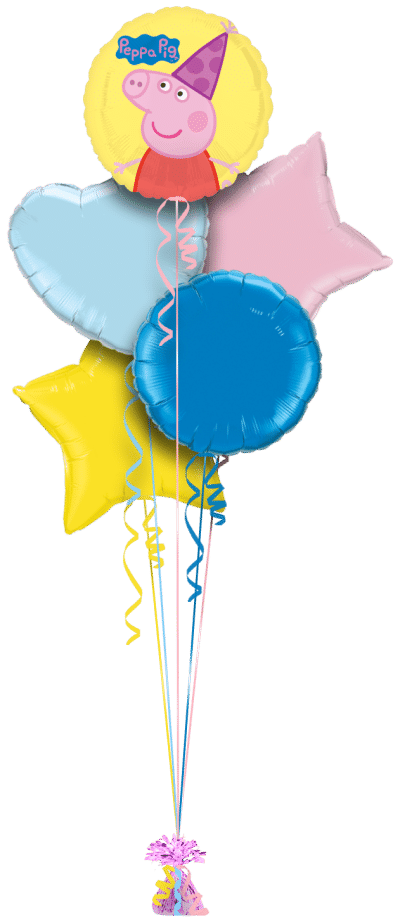 Peppa Pig Party Hat Balloon Bunch