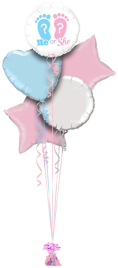 New Baby Shower He or She Balloon Bunch