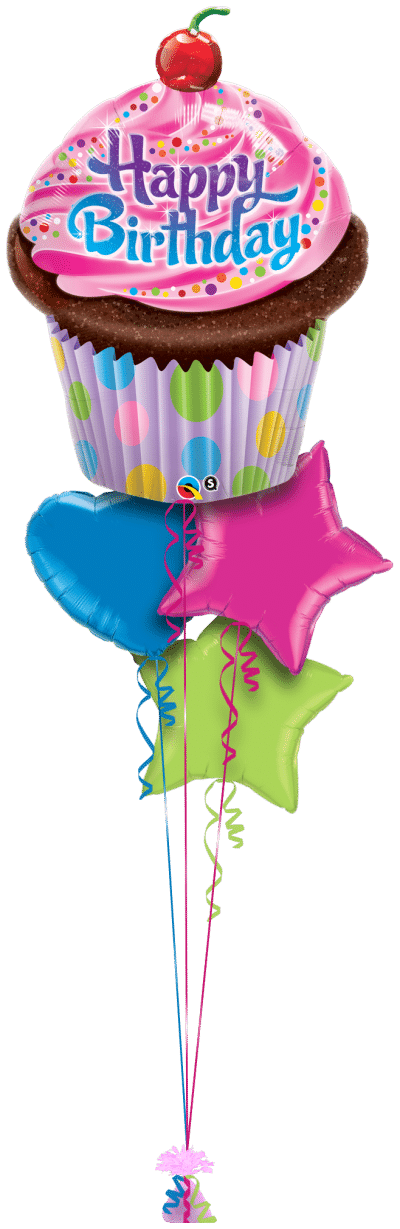 Birthday Frosted Cupcake Balloon Bunch