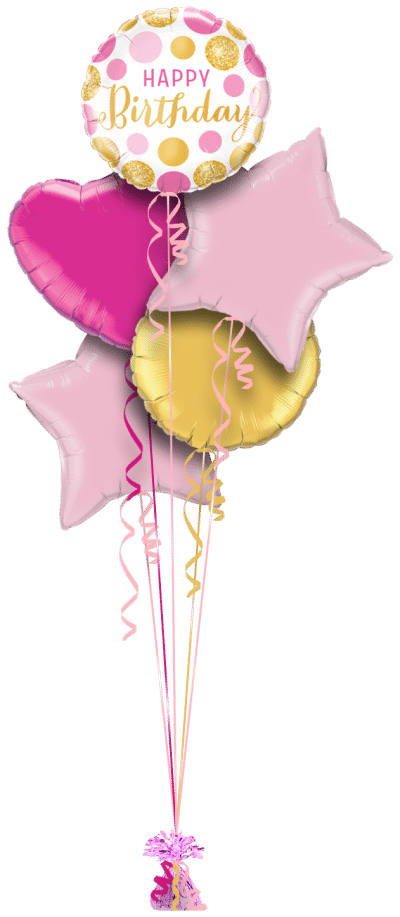 Birthday Pink and Gold Dots Balloon Bunch