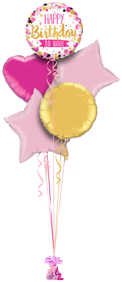 Happy Birthday To You Pink and Gold Balloon Bunch