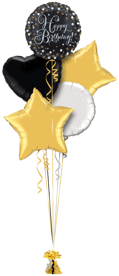 Gold and Silver Sparkle Birthday Balloon Bunch