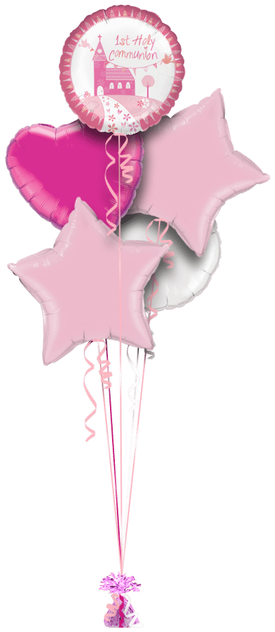 1st Holy Communion Pink Balloon Bunch