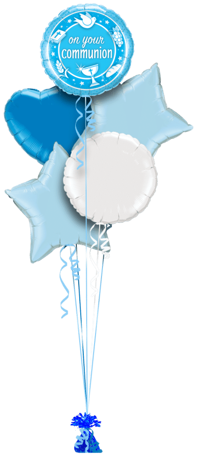 On Your Communion Blue Balloon Bunch