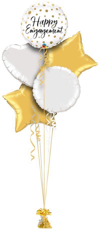 Happy Engagement Gold Dots Balloon Bunch