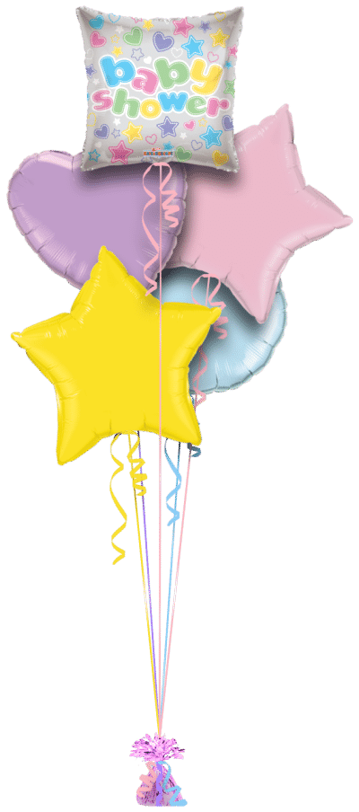 Baby Shower Stars and Hearts Balloon Bunch