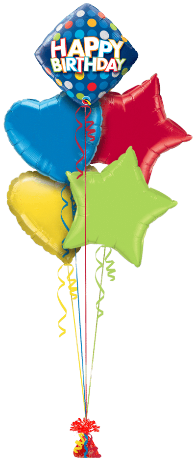 Birthday Blue and Colorful Dots Balloon Bunch