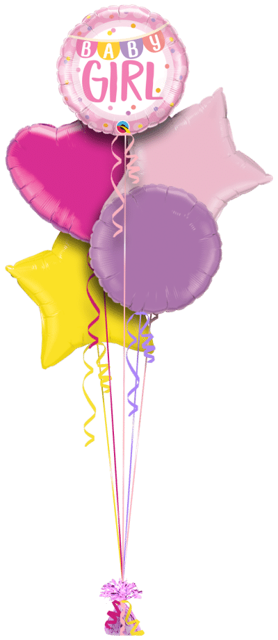 Baby Girl Banner and Dots Balloon Bunch