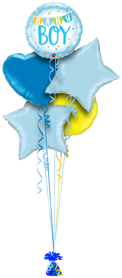Baby Boy Banner and Dots Balloon Bunch