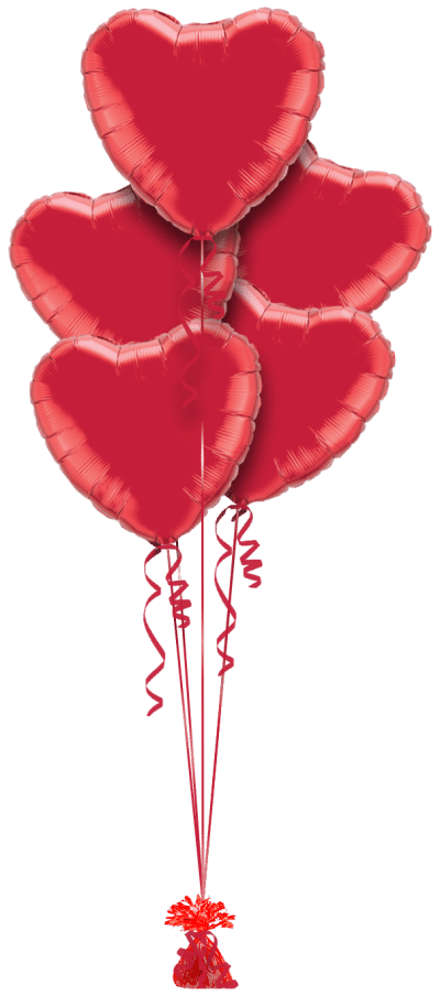 Valentines Red Hearts Balloon Bunch