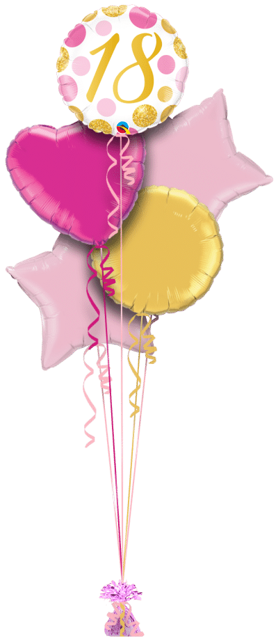 18 Pink and Gold Dots Balloon Bunch