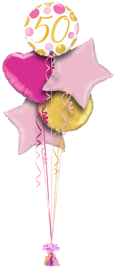 50 Pink and Gold Dots Balloon Bunch