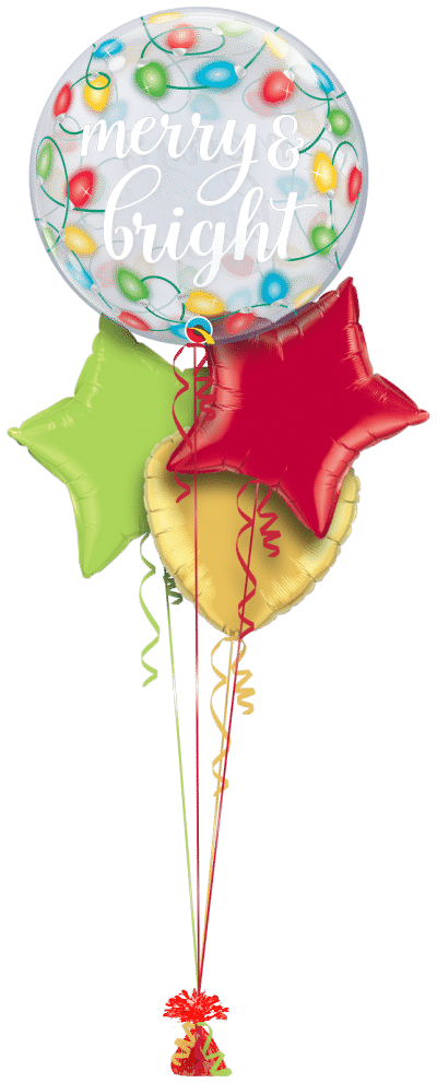 Merry and Bright Christmas Lights Bubble Balloon Bunch