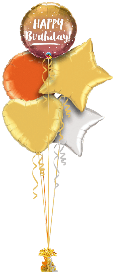 Birthday Gold and Rose Gold Ombre Balloon Bunch