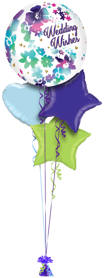 Water Colour Wedding Wishes Orbz Balloon Bunch