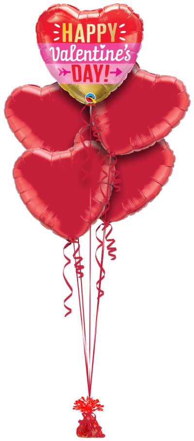 Valentines Heart and Arrow Balloon Bunch