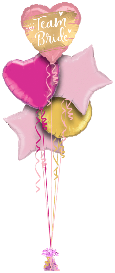 Team Bride Gold and Pink Heart Balloon Bunch
