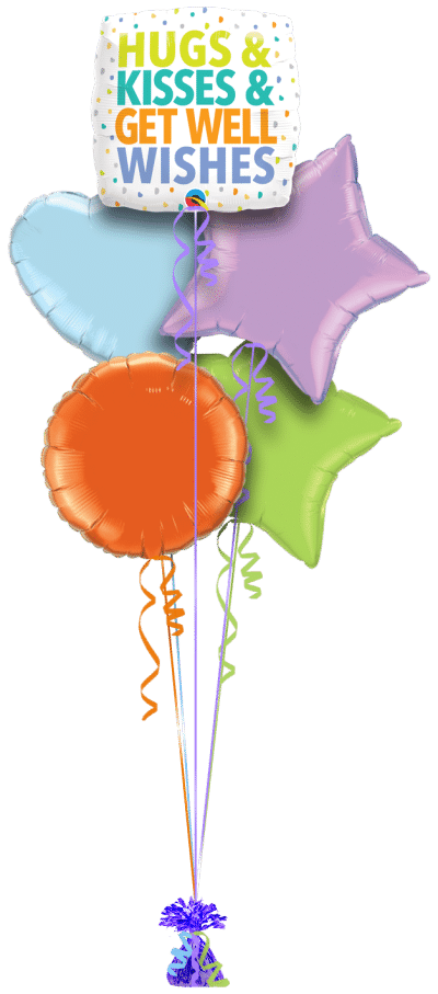 Hugs and Kisses and Get Well Wishes Balloon Bunch