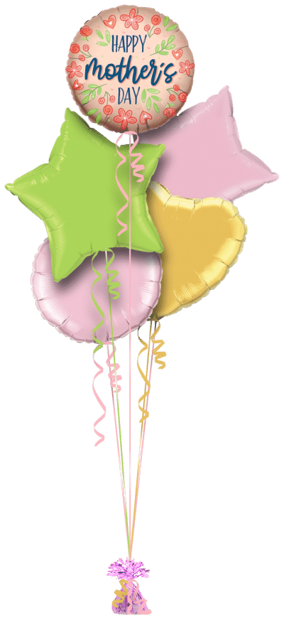 Mothers Day Rose Gold Flowers Balloon Bunch