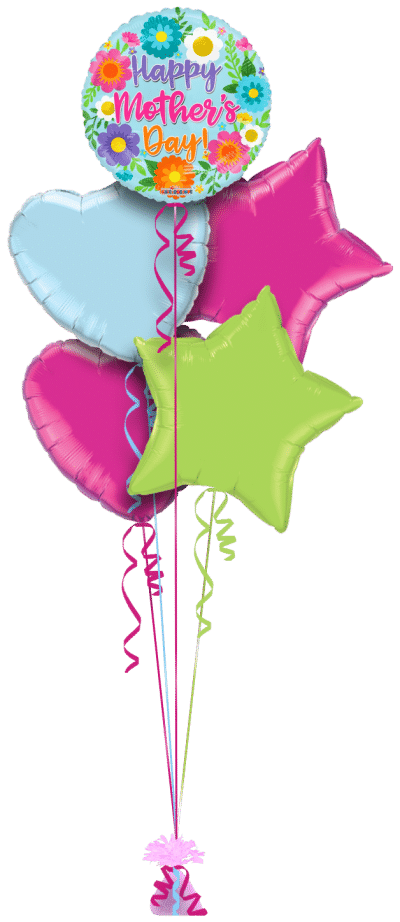 Mothers Day Bright Flowers Balloon Bunch