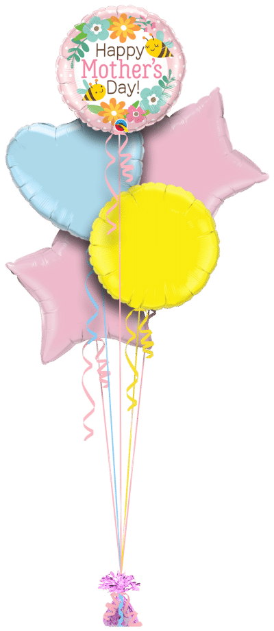 Mothers Day Bee and Flowers Balloon Bunch