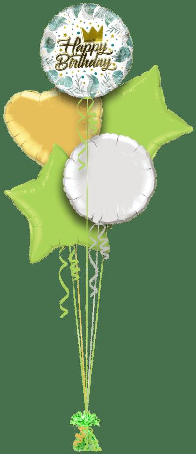 Birthday Gold Crown Balloon Bunch