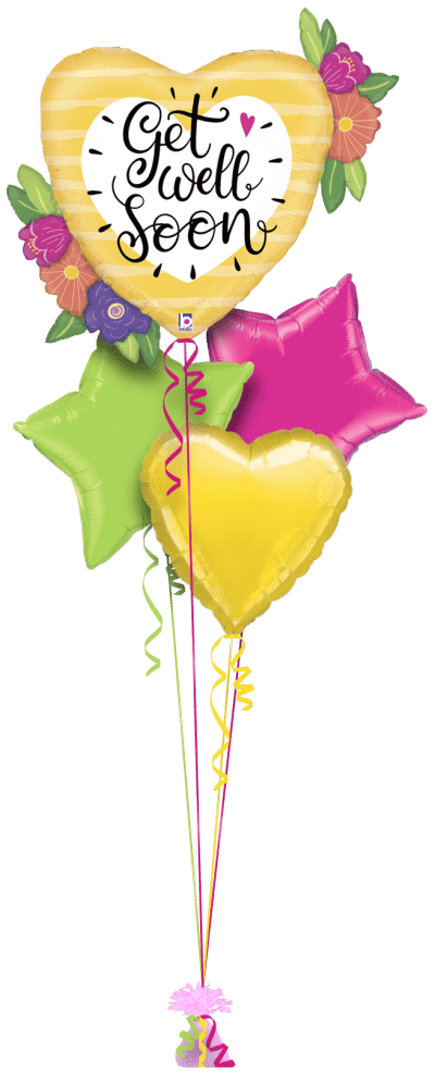 Get Well Big Heart and Flowers Balloon Bunch