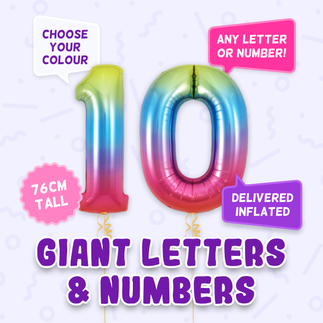 A 76cm tall 10th Birthday, Letters & Numbers balloon example