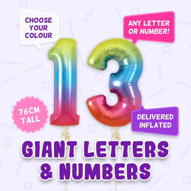 A 76cm tall 13th Birthday, Letters & Numbers balloon example